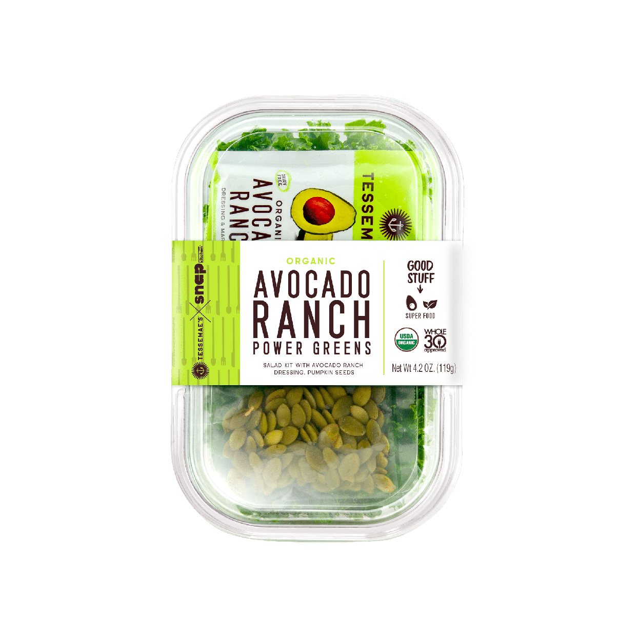 avocado ranch power greens salad