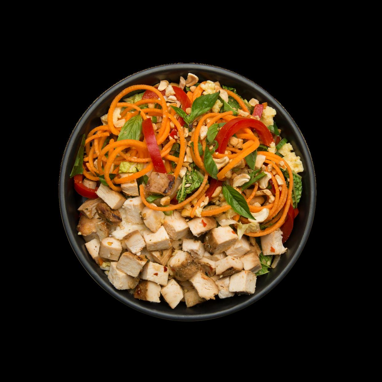 Thai Kitchen Pad Thai chicken pad thai with spiralized sweet potatoes - snap kitchen