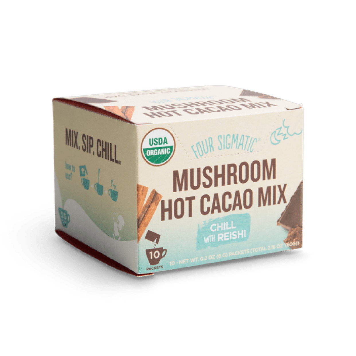 four sigmatic - hot cacao mix with reishi mushroom (box)