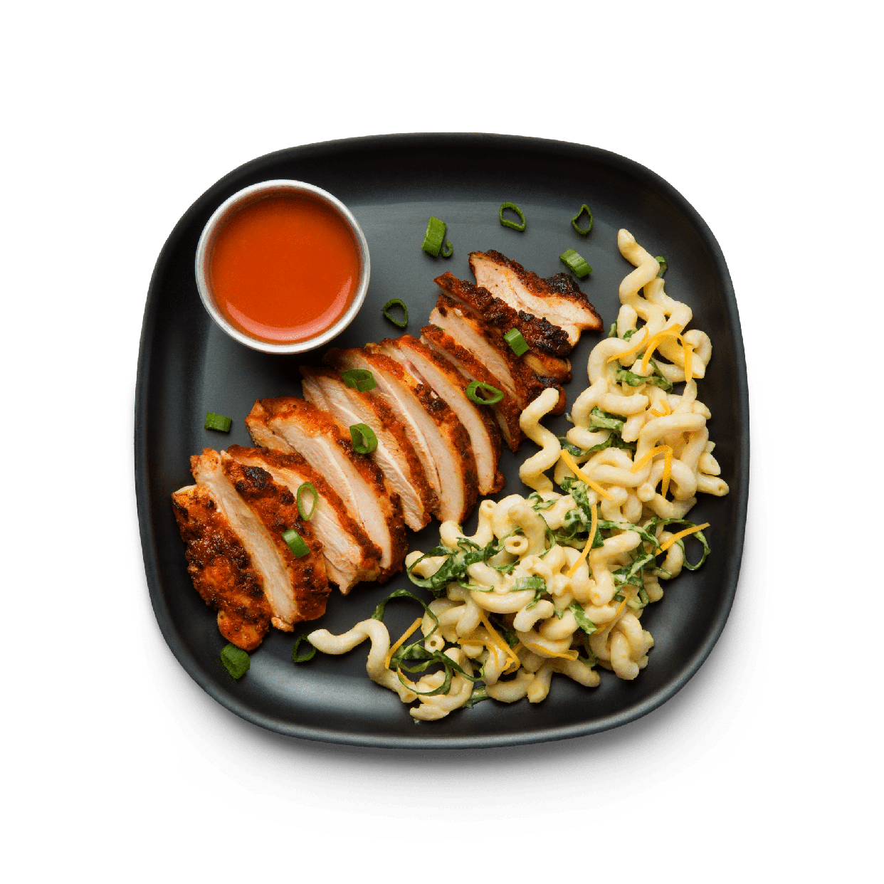 hot chicken with fusilli & cheese