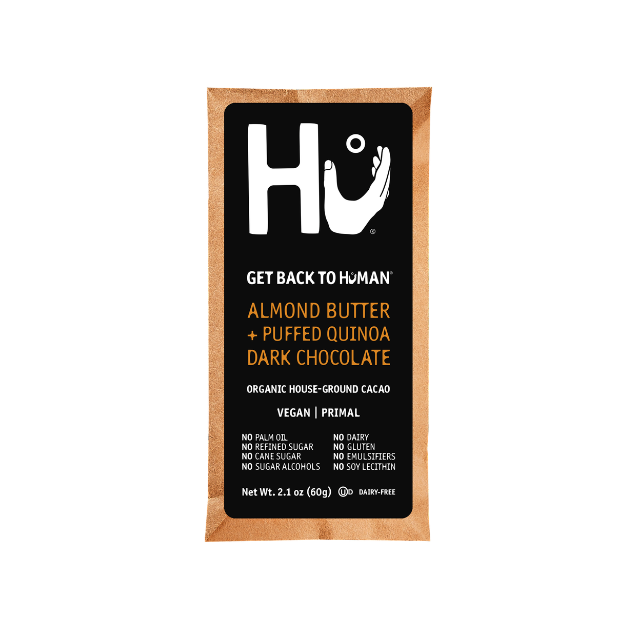 hu almond butter + puffed quinoa dark chocolate