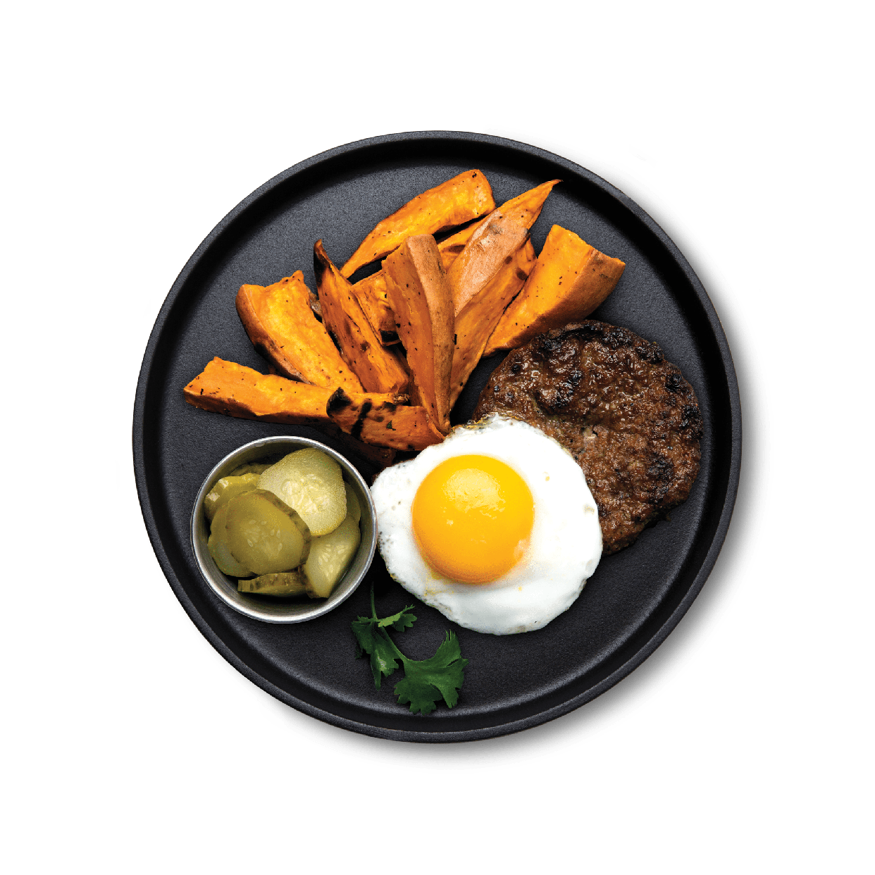 over easy burger with sweet potato